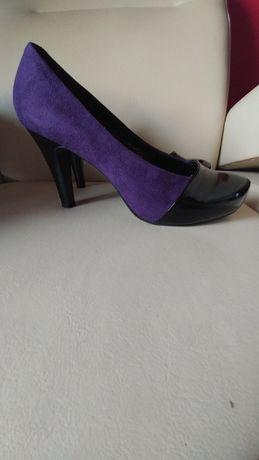 Szpilki platformy fiolet zamsz czarny lakierowany wkładka skóra 39