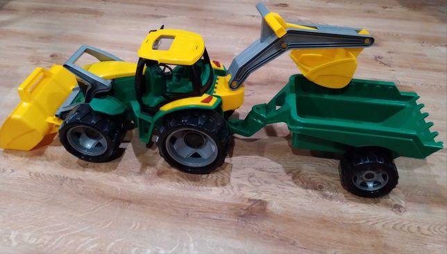 Koparkoładowarka Traktor z przyczepką. Spyczach Koparka Traktor Lena