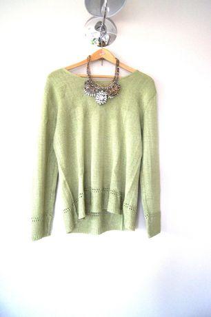zielony morski khaki sweterek cienki zimowy jesienny wzory 44 46 XXXXL