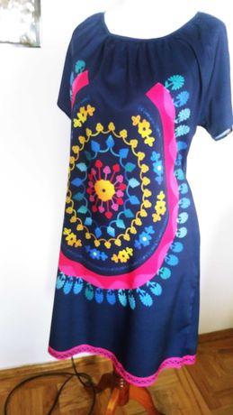Sukienka tunika na lato plaże Żywe wesołe kolory roz L /XL