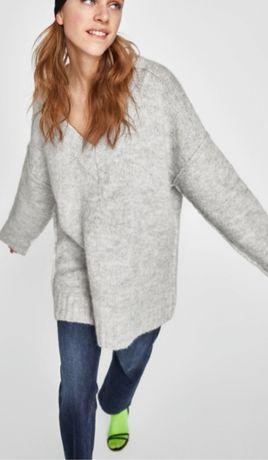 ZARA knit sweter oversize S szary