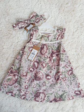 Sukienka w kwiaty Newbie 86, opaska, niedostępne w sklepie