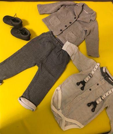 Комплект Next для мальчика стиляги (штаны с подтяжками, боди и пиджак)