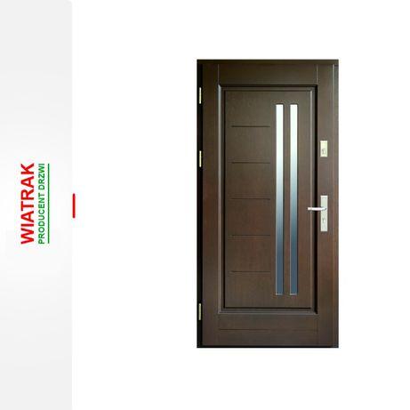 Drzwi zewnętrzne drewniane ocieplane 78mm orzech/antracyt !!! Od ręki