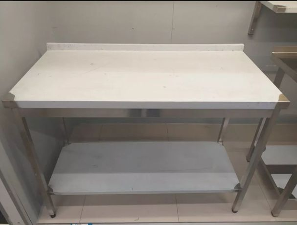 Новый стол из нержавейки с бортом и полкой 1200х600х850мм СО СКЛАДА!