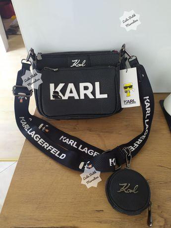 JEDYNA TAKA ! Torebka damska listonoszka Karl Lagerfeld skórzana 3w1