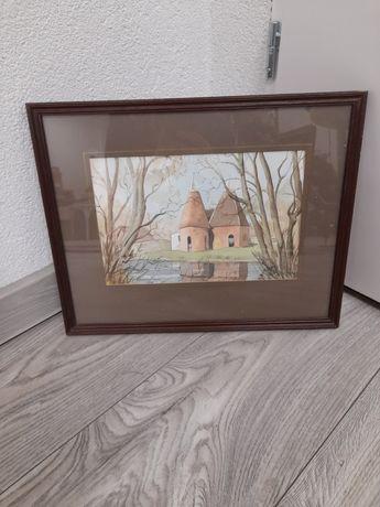 Malowany,sygnowany obraz kościół 38 na 30,5 cm