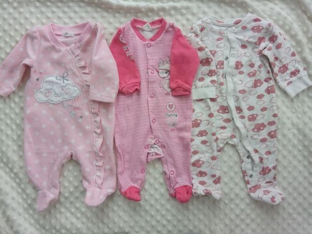 3 pak zestaw pajacyk niemowlęcy długi rękaw r.56