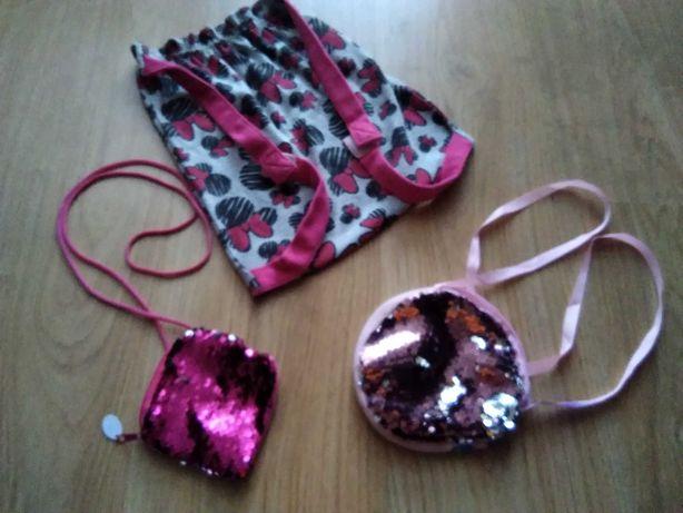 Torebki/plecaczek dla dziewczynki - zestaw różowy