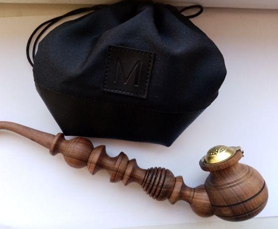 Люлька курительная трубка, дерево с метал крышкой и кисет для табака