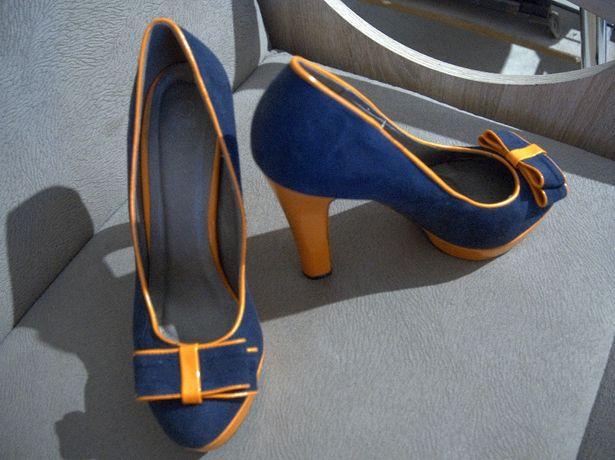 Buty obcas szpilka kokardka granatowe pomarańczowe 39-40 25,5cm
