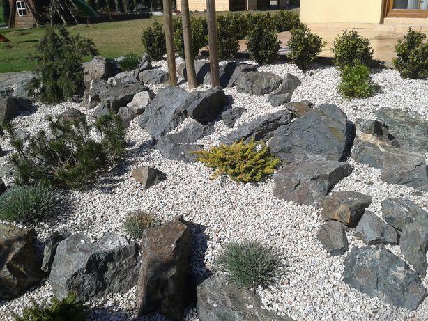 kamień ogrodowy, ozdobny grys dolomitowy jasno beżowo