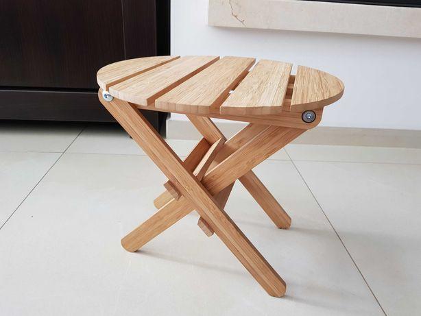 Bambusowy stołek, stojak na doniczkę składany - nowy