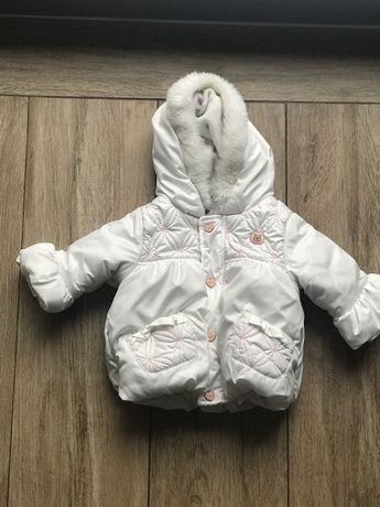 Biała zimowa kurtka dla dziewczynki 62