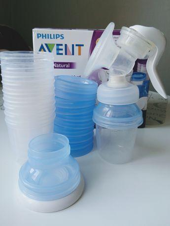 Молокоотсос ручной Philips Avent + контейнеры для хранения молока