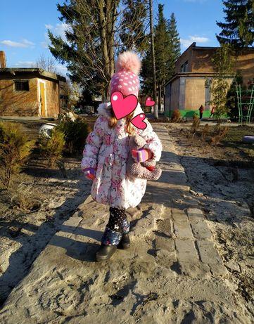 Зимняя демисезонная красивая оригинальная куртка для девочки