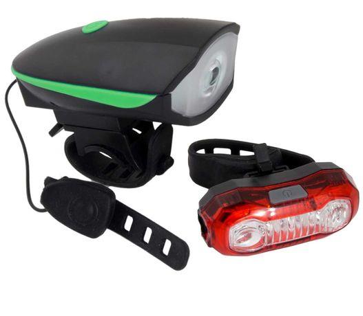 Zestaw lampka rowerowa LED USB przód tył z dzwonkiem Alfard + Polaris