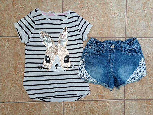 Стильный комплект: красивая футболка футболочка Bunny джинсовые шорты
