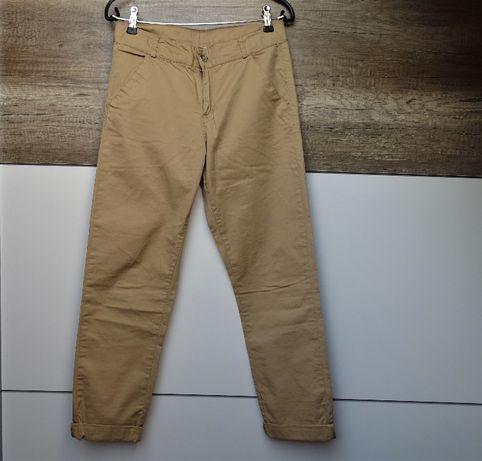 Spodnie cygaretki h&m r.152 kamelowe jak nowe bawełna