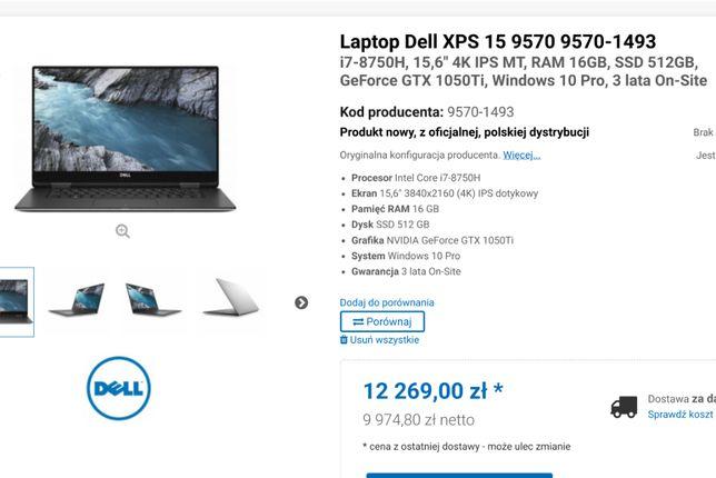 Nowy DELL XPS i7/16GB/512GBHD/GTX 1050Ti Max-Q/4K/Dotykowy za 50%ceny