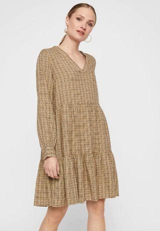 Nowa luźna sukienka koszulowa w kratkę beżowa oversize w serek 40 L