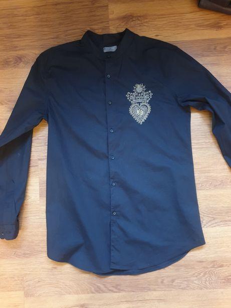 Czarna koszula męska L Zara stójka ze stójką na sylwestra sylwester