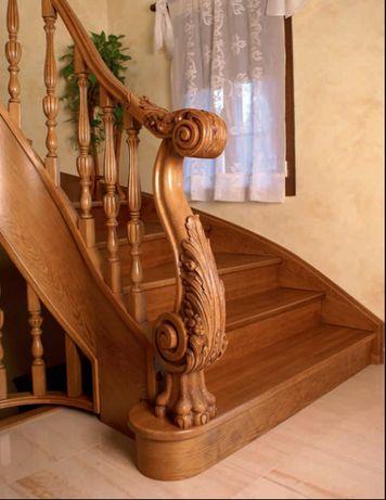 Різьблені стовпи до сходів, початковий стовп, балясина чпу, сходи