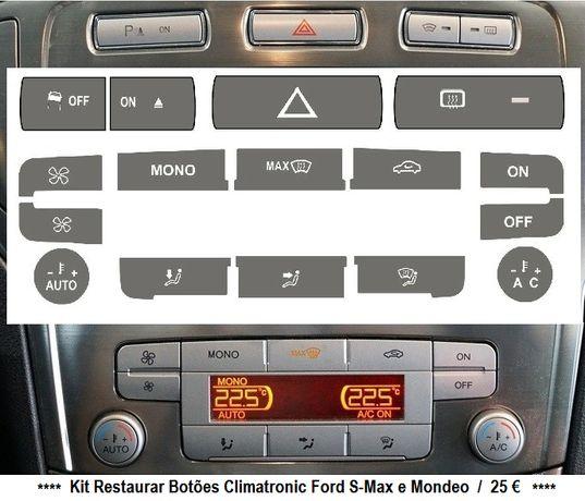 Kit Vinil Autocolante Botões Auto-Rádio Ford S-Max / Mondeo / KA
