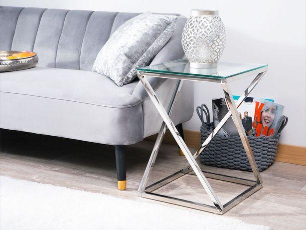 Mesa de apoio prateada com tampo de vidro BEVERLY - Beliani