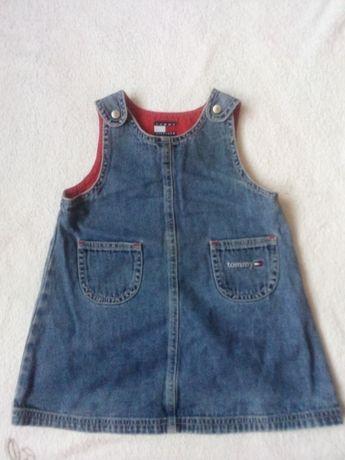 80 86 Tommy hilfiger sukienka jeansowa niebieska firmowa