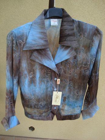 bluzka elegancka szaro-niebieska z delikatnego materiału rozm M nowa