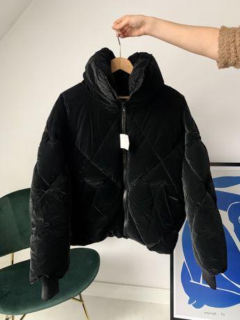 Zara mieniąca się perłowa kurtka puchowa połyskująca XS S