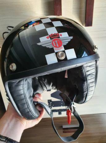 Profesjonalny Kask Motocyklowy Davida Jet Rozmiar XL 62CM Waga 1250G