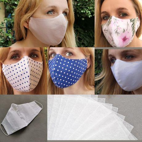 Maska bawełniana z kieszonką na filtr z 10 filtrami