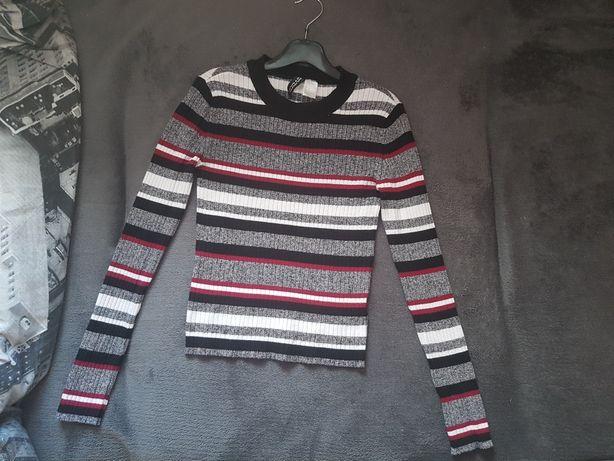 sweterek dopasowany w paski h&m