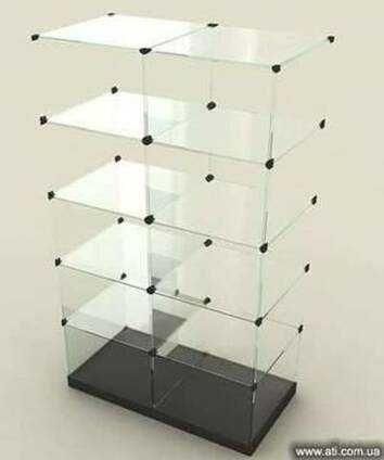 Торговая витрина, торговое оборудование, стеклянный стеллаж