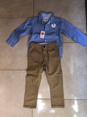 Komplet smyk koszula/body spodnie karmel r 98