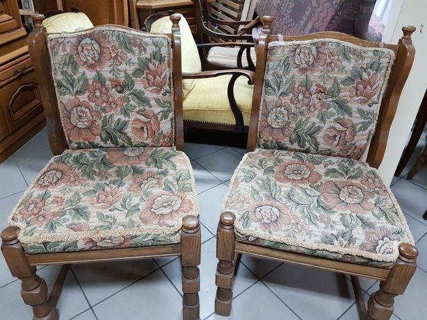 2 dębowe solidne duże szerokie krzesła
