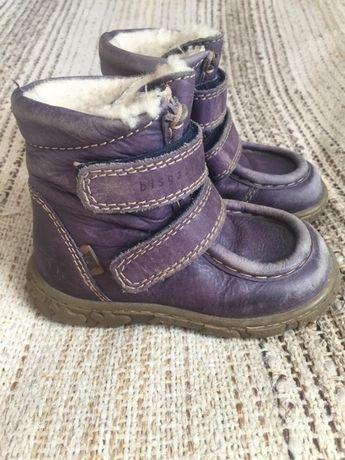 Зимние фиолетовые кожаные ботинки bisgaard tex