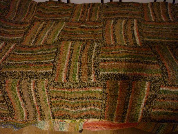 Narzuta wełniana patchwork second hand made 1 egz projekt własny