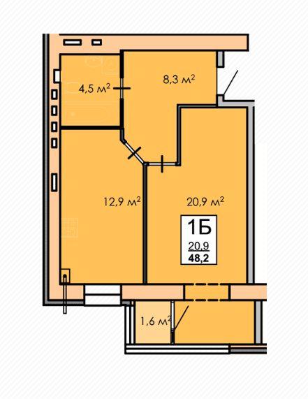 Квартира 49 кв.м. з автономним опаленням Черкассы - изображение 1