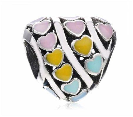 Charms PANDORA Srebro 925 ażurowy serce serduszka kolor