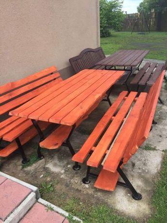 Sprzedam lawki i stol metal drewno sosna kolor i rozmiar dowolny