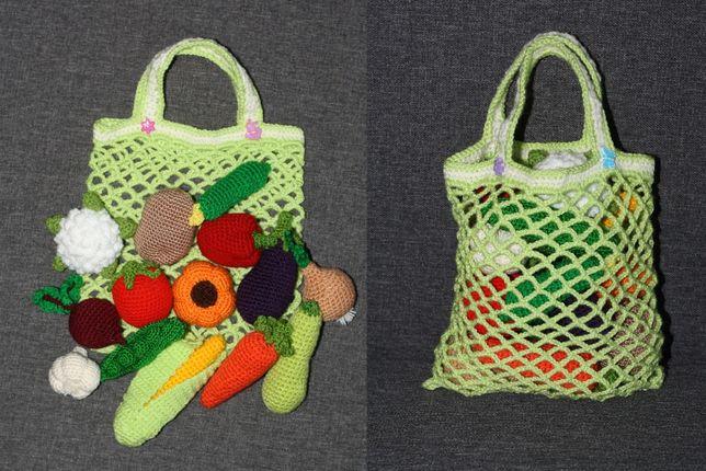 Набор из вязаных овощей и фруктов в сетке