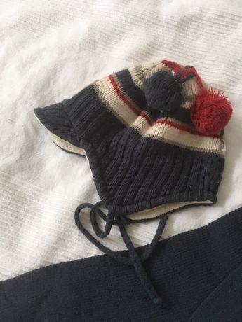 Cieplutka czapka wiązana i szalik