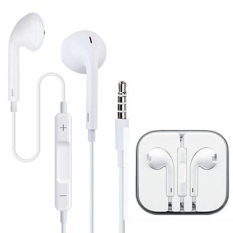 Słuchawki douszne z mikrofonem białe