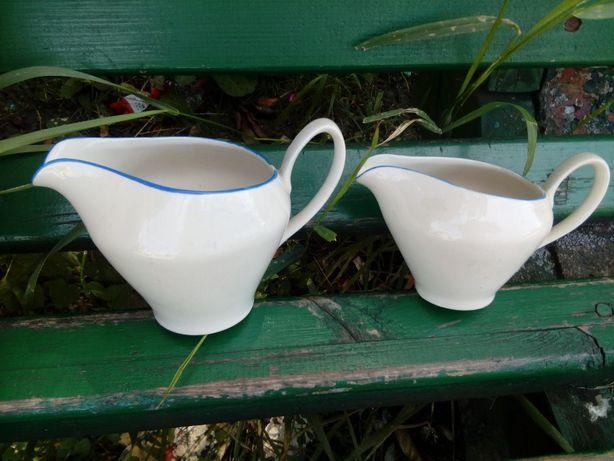 Prl sosjerki porcelana Chodzież 2 szt biel blekit