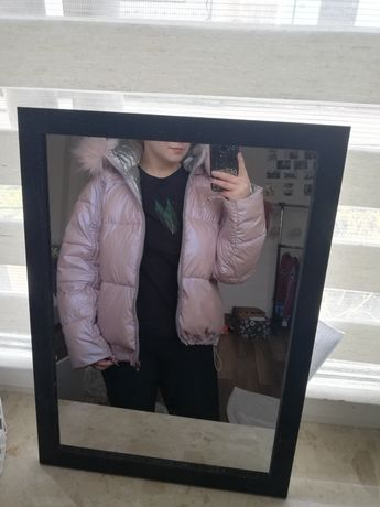 Różowo-srebrna pufiasta kurtka