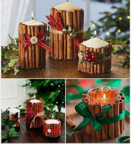 Декорированные новогодние свечи