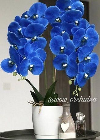 Шикарная орхидея синяя фаленопсис искусственная композиция в горшке